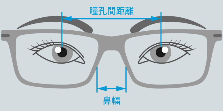 瞳孔間距離・鼻幅の図解